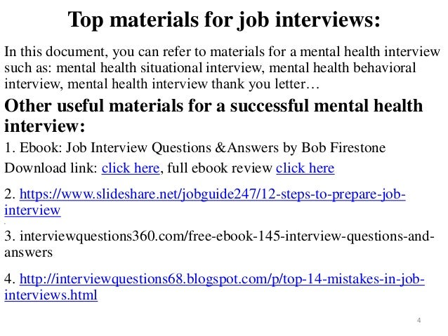 80 mental health interview questions with answers