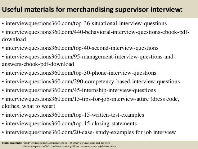 Top 10 merchandising supervisor interview questions and answers