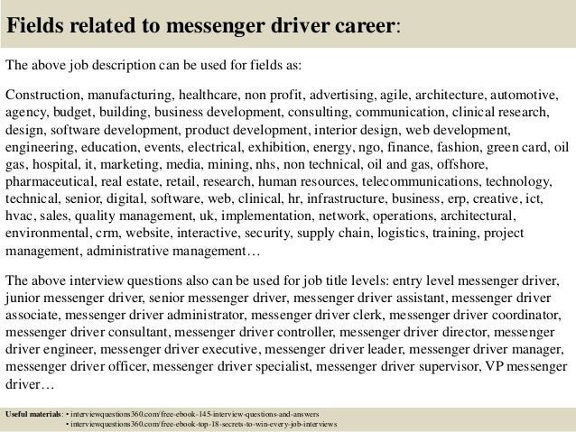18 fields related to messenger driver - Sample Resume For Driver Messenger