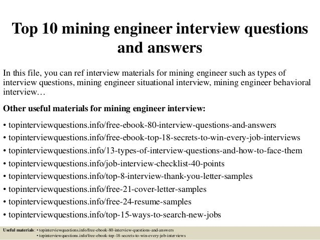 top 10 mining engineer interview questions and answers in this file you can ref interview - Mining Engineer Sample Resume