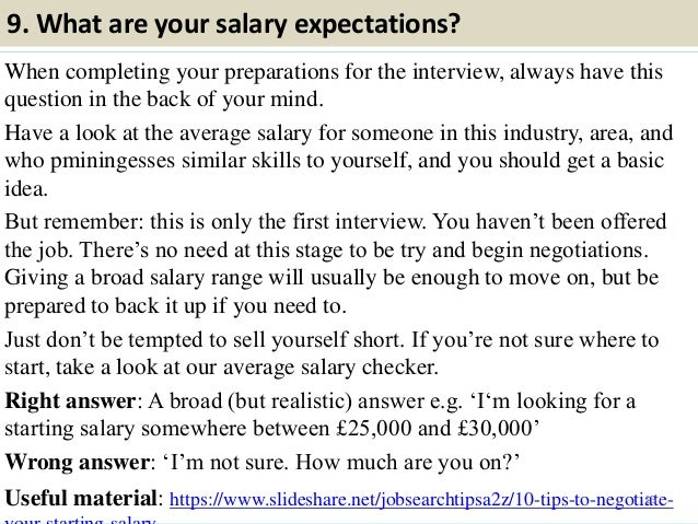 14; 15. 9. What Are Your Salary Expectations?