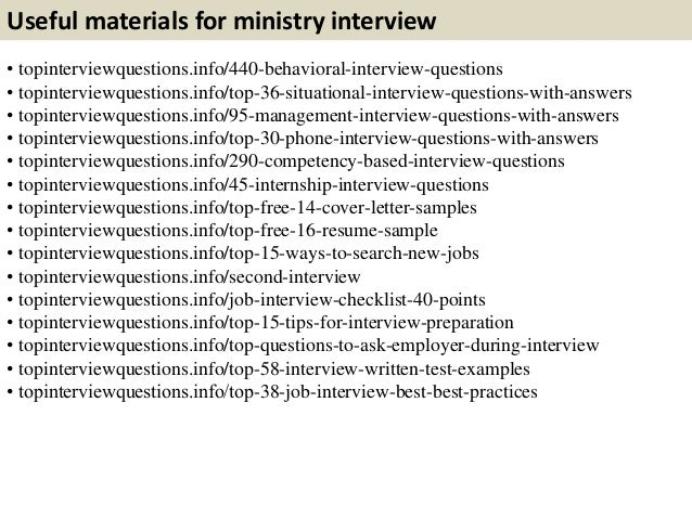 Top 10 Ministry Interview Questions With Answers