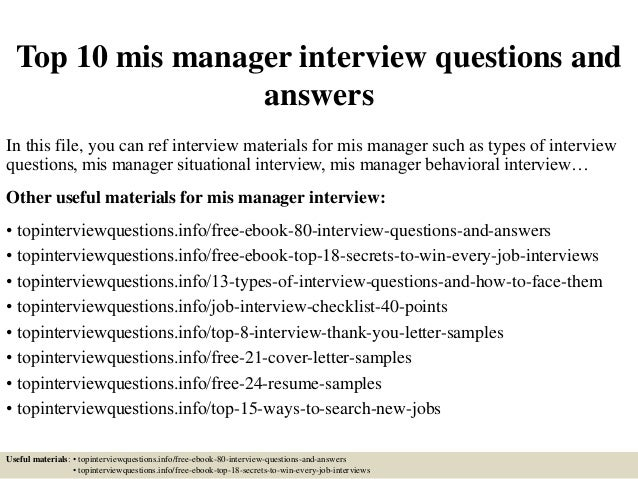 Top 10 Mis Manager Interview Questions And Answers In This File, You Can  Ref Interview ...