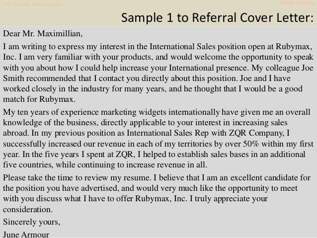 Top 10 morgan stanley cover letter samples