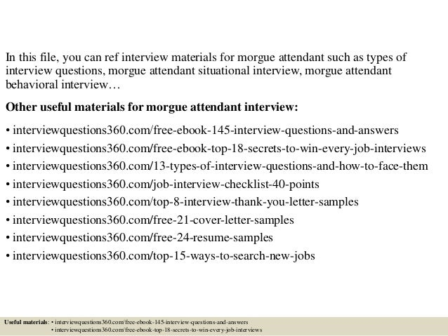 top 10 morgue attendant interview questions and answers - Morgue Attendant Sample Resume