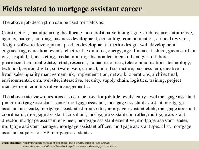 top 10 mortgage assistant interview questions and answers