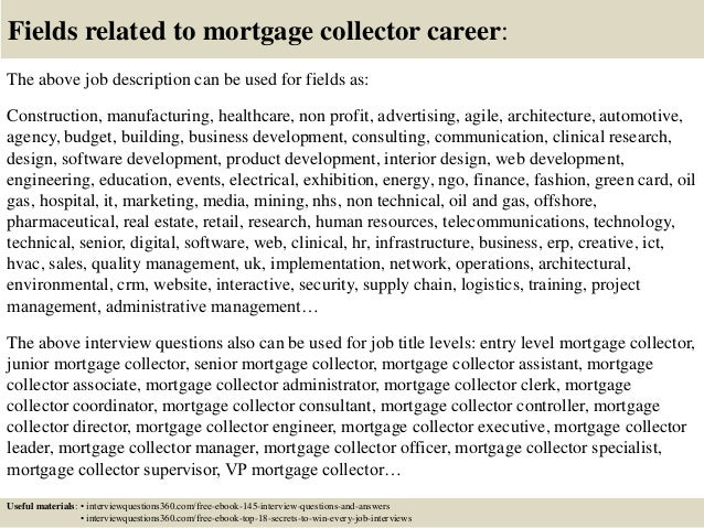 18 fields related to mortgage collector career the above job description