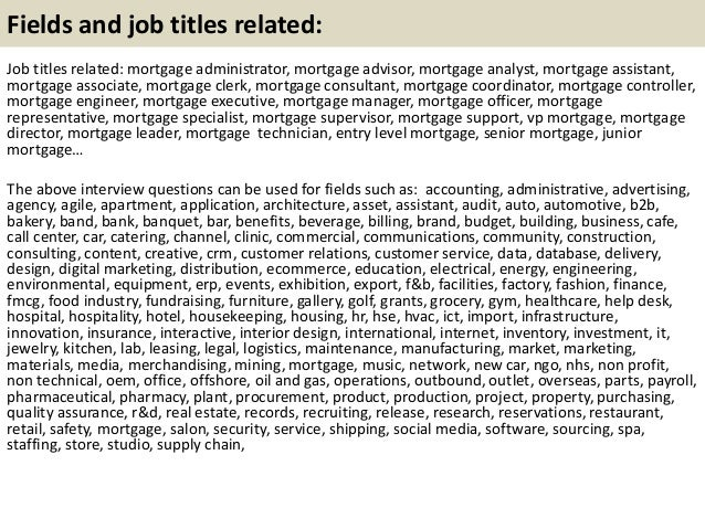 mortgage advisor job description