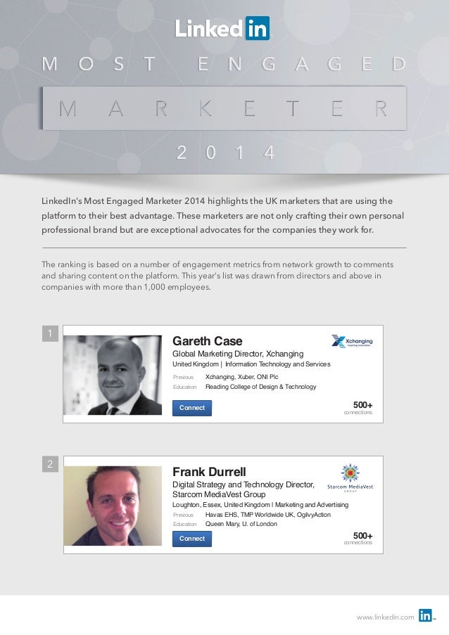 www.linkedin.com LinkedIn's Most Engaged Marketer 2014 highlights the UK marketers that are using the platform to their be...