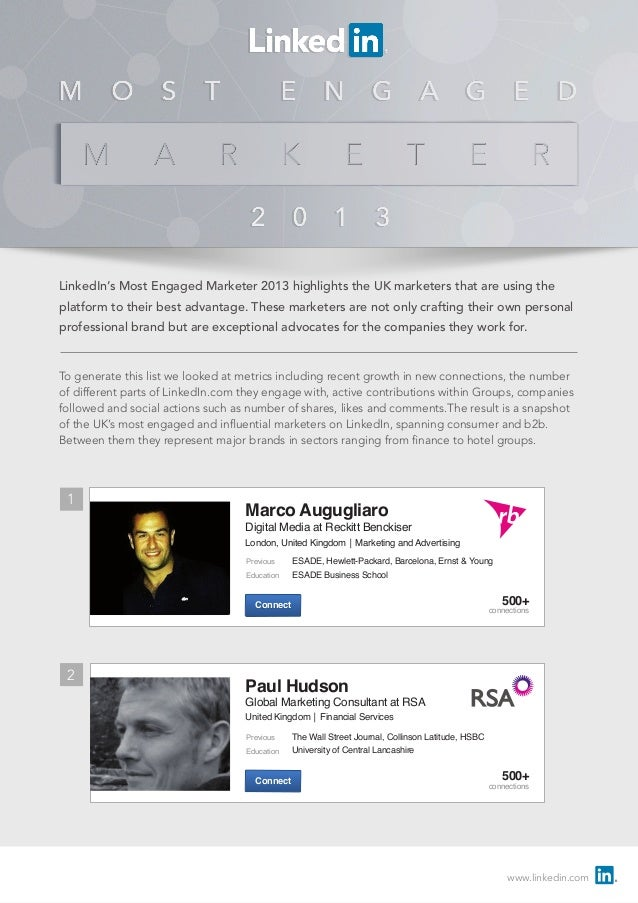 www.linkedin.com LinkedIn's Most Engaged Marketer 2013 highlights the UK marketers that are using the platform to their be...