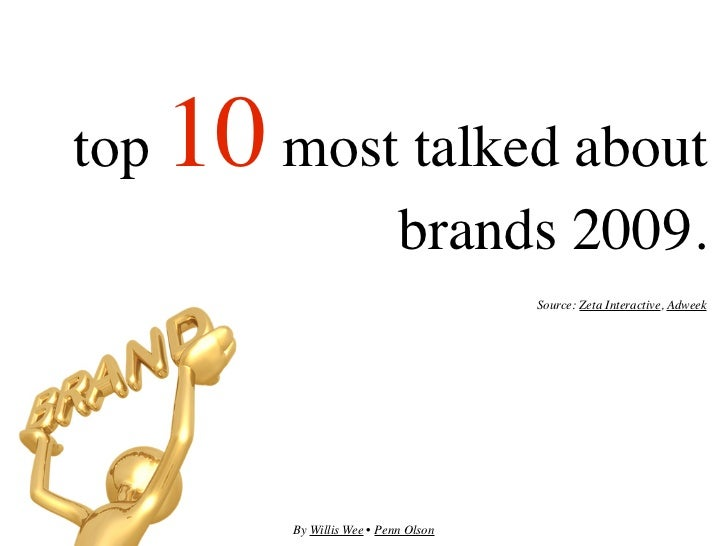 top   10 most talked about                              brands 2009.                                        Source: Zeta I...