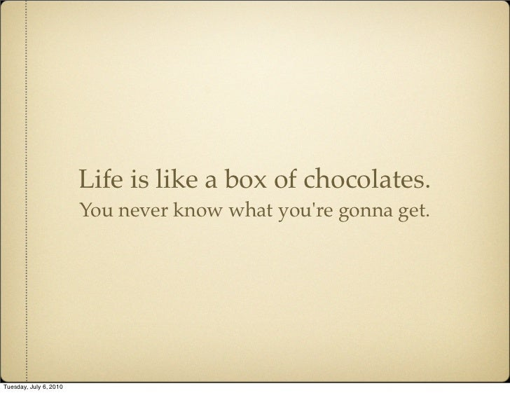 Life is like a box of chocolates.                         You never know what you're gonna get.     Tuesday, July 6, 2010