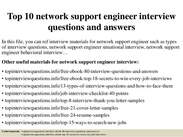 Top 10 Network Support Engineer Interview Questions And Answers In This  File, ...