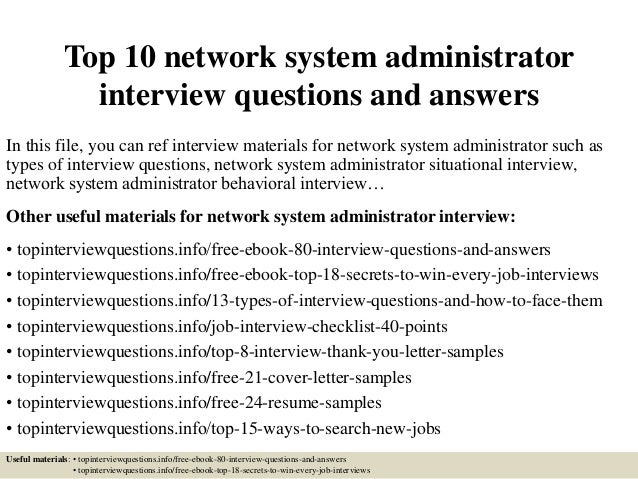 top 10 network system administrator interview questions