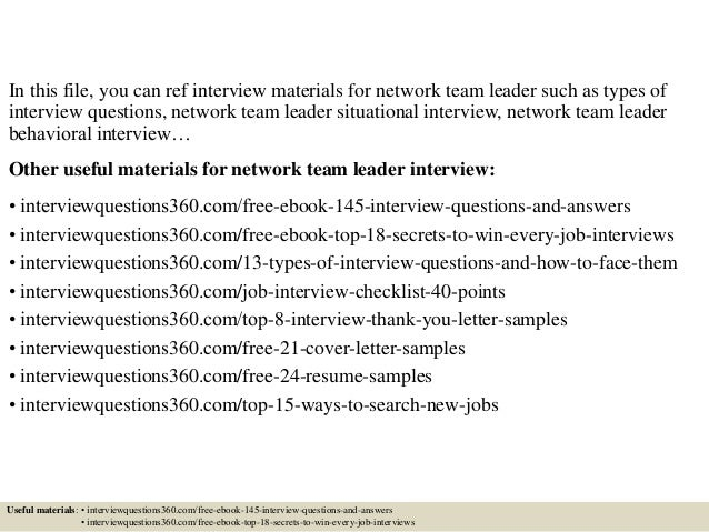 Top 10 network team leader interview questions and answers