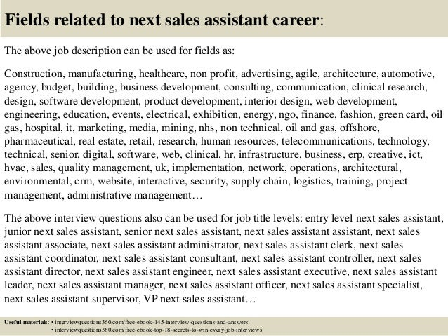 Top  Next Sales Assistant Interview Questions And Answers