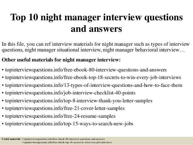 Top 10 night manager interview questions and answers top 10 night manager interview questions and answers in this file you can ref interview altavistaventures Image collections
