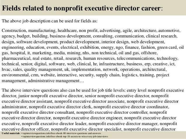 ... 17. Fields Related To Nonprofit Executive Director Career: The Above Job  Description ...