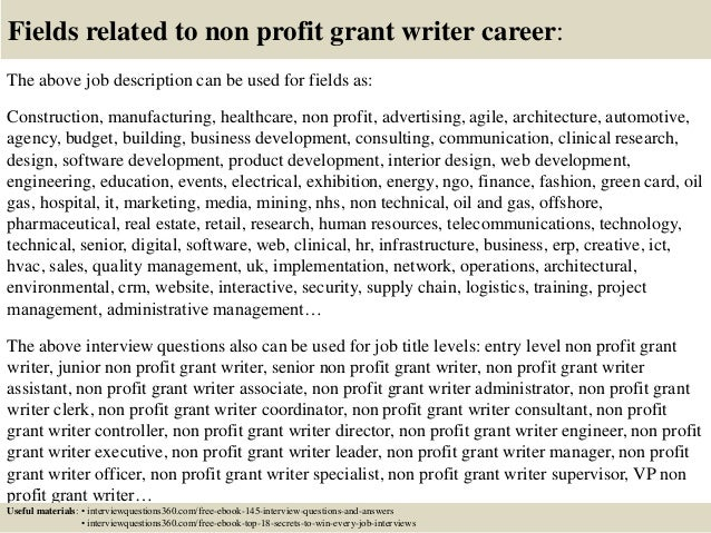 18 fields related to non profit grant writer