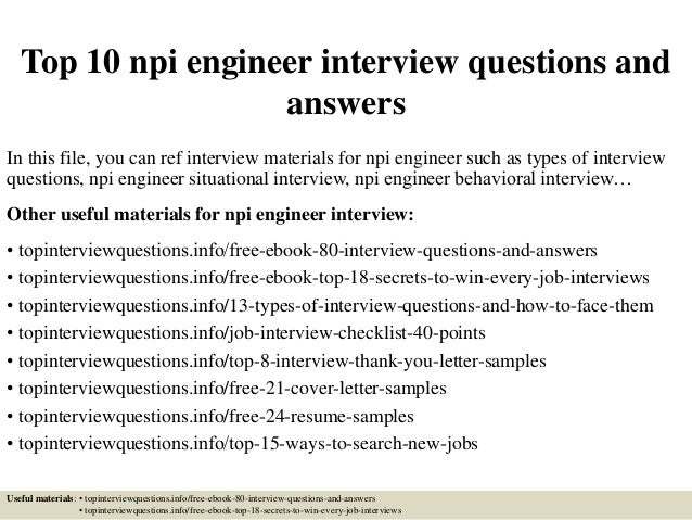 Top 10 npi engineer interview questions and answers