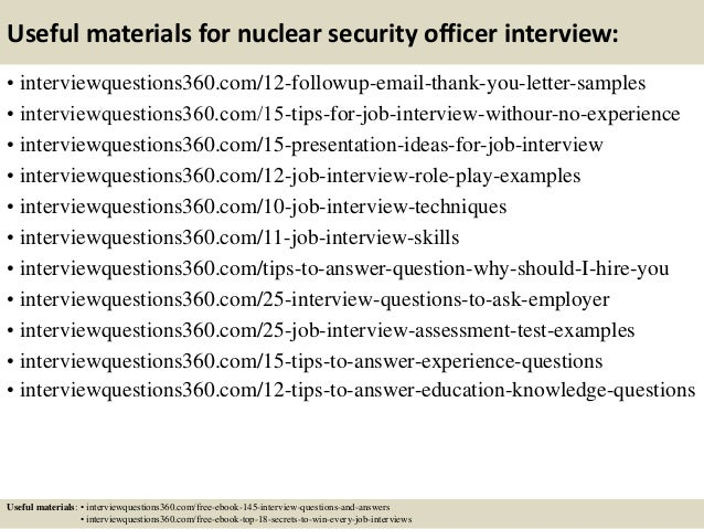 top 10 nuclear security officer interview questions and answers - Nuclear Security Guard Sample Resume