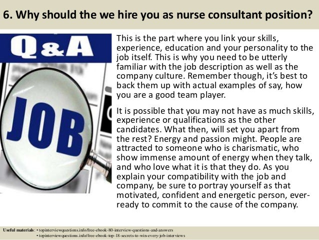 Top 10 nurse consultant interview questions and answers