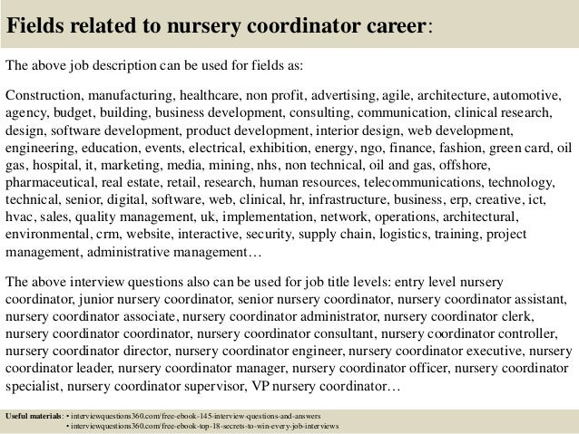 Top 10 nursery coordinator interview questions and answers