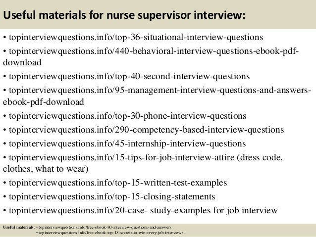 Top 10 nurse supervisor interview questions and answers