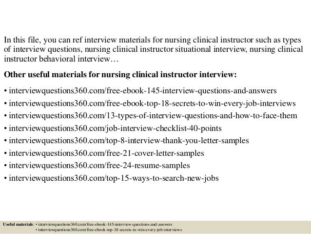 Top 10 nursing clinical instructor interview questions and answers 2 in this file you can ref interview materials for nursing expocarfo