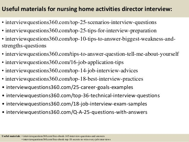 Top  Nursing Home Activities Director Interview Questions And Answe