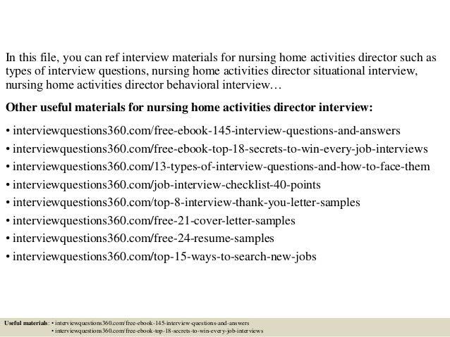 top 10 nursing home activities director interview
