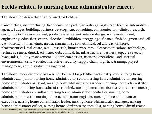 nursing home administrator cover letter