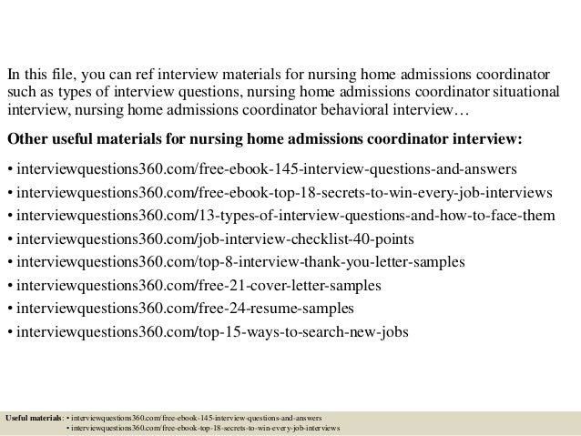 Top 10 nursing home admissions coordinator interview questions and an…