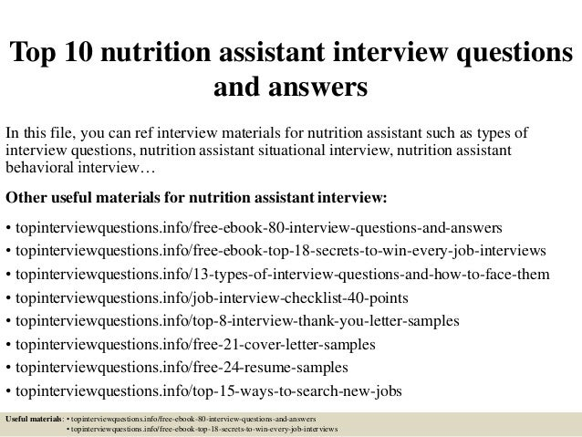 TopNutrition AssistantInterviewQuestionsAndAnswersJpgCb