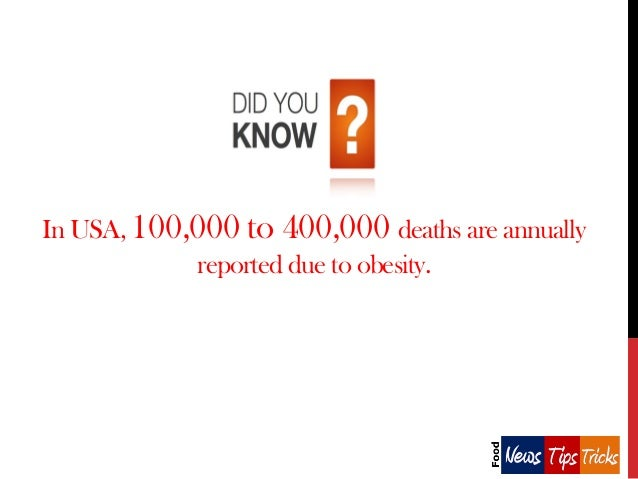 In USA, 100,000 to 400,000 deaths are annually reported due to obesity.