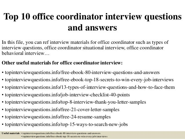 Top 10 office coordinator interview questions and answers for Interior design office programming questionnaire