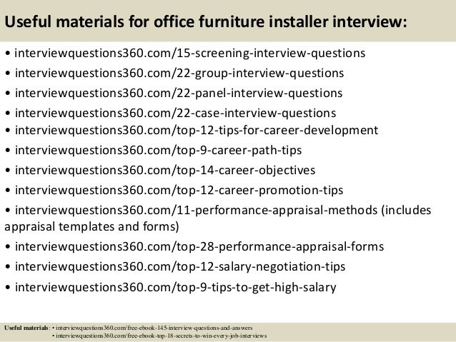 Top 10 office furniture installer interview questions and answers