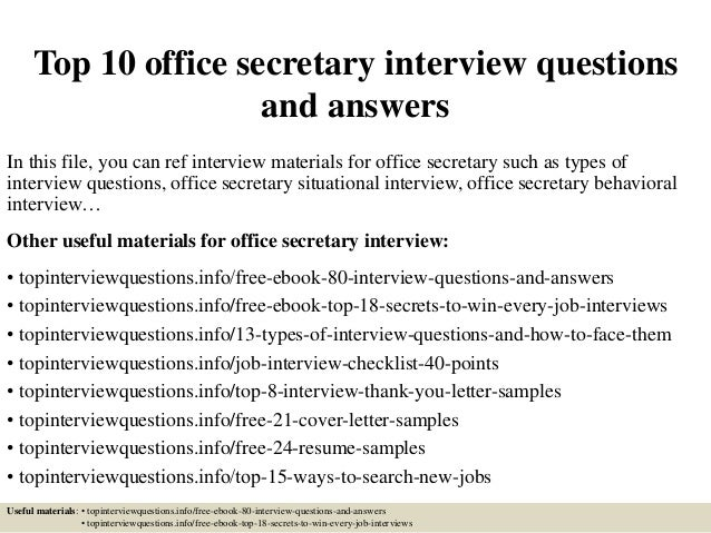 top 10 office secretary interview questions and answers