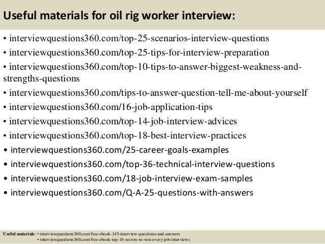 Top 10 oil rig worker interview questions and answers