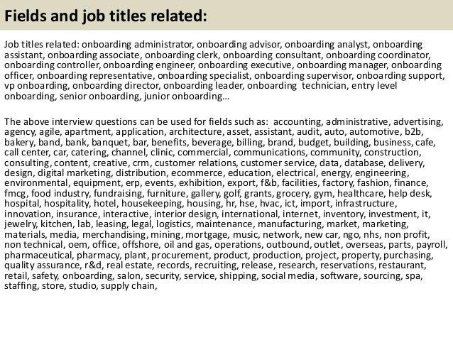 21 fields and job - Onboarding Specialist Job Description