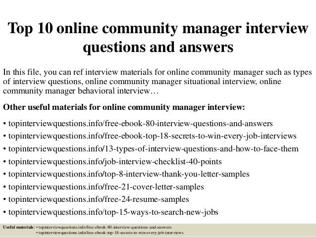 Top 10 online community manager interview questions and