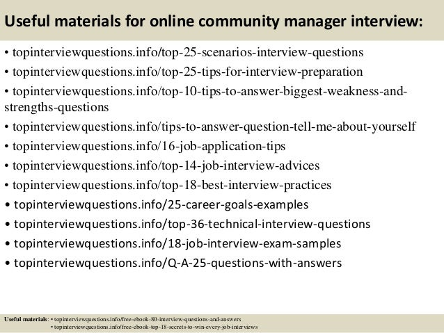 Top 10 online community manager interview questions and answers