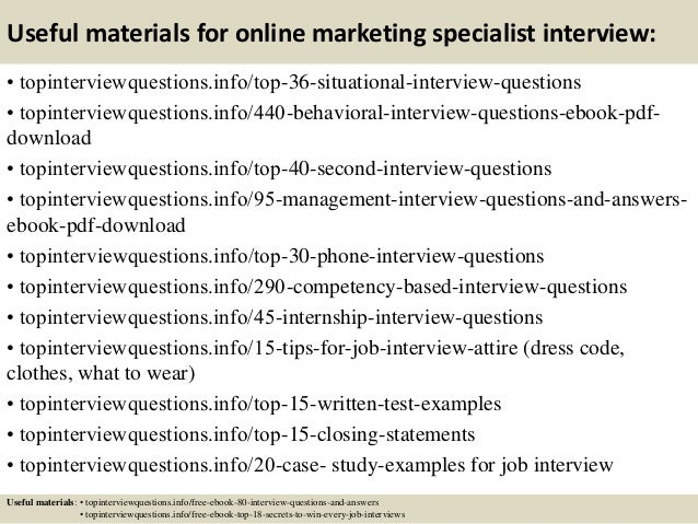 top 10 online marketing specialist interview questions and answers