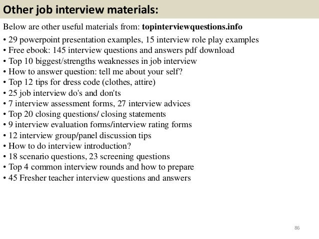 ... Interview Tips For Candidate With No Experience 85; 86.