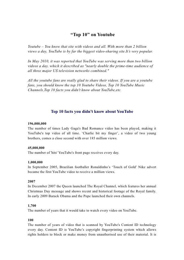 """Top 10"" on Youtube  Youtube – You know that site with videos and all. With more than 2 billion views a day, YouTube is by..."