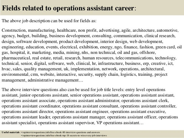 Cover Letter For Operations Assistant