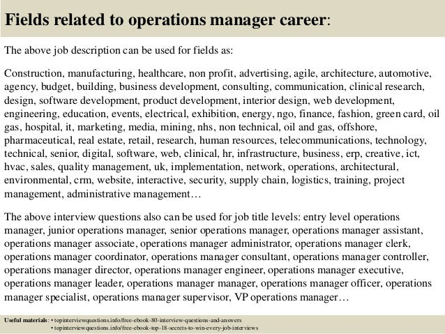 Top 10 operations manager interview questions and answers