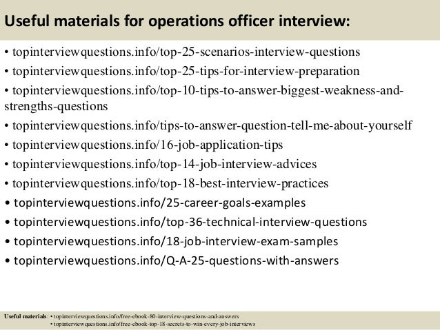 Top 10 operations officer interview questions and answers