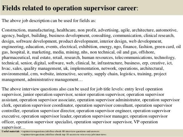 operation supervisor job description