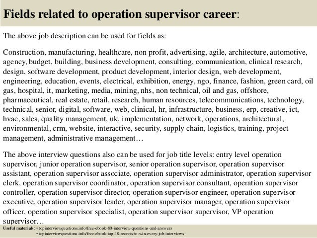 Beautiful ... 17. Fields Related To Operation Supervisor Career: The Above Job  Description ...